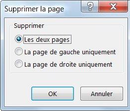 Supprimer des pages de votre composition à l'aide de la boîte de dialogue Supprimer la page.