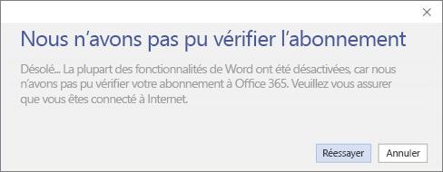 Capture d'écran du message d'erreur «Désolé... Nous n'avons pas pu vérifier l'abonnement»