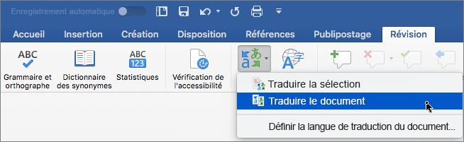 Onglet Révision avec Traduire le document en surbrillance