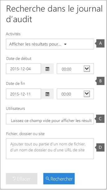 Configurez des critères, puis cliquez sur Rechercher pour générer un rapport