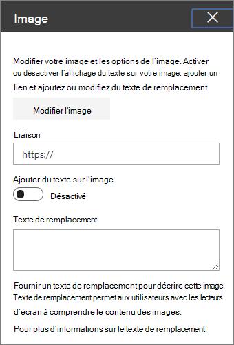 Outils de composant WebPart image