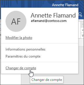 Capture d'écran montrant comment irtuelle comptes dans une application de bureau Office