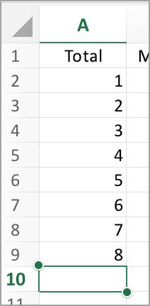Sélectionnez la colonne de somme automatique