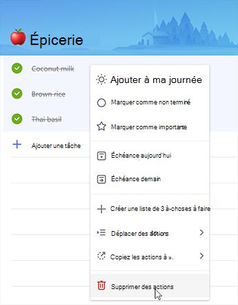 Capture d'écran présentant l'option Supprimer des tâches du menu contextuel