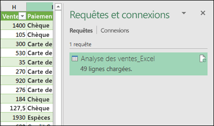 Requêtes Power Query et volet connexions