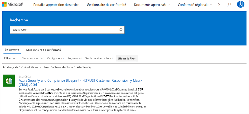 Portail de gestion de la confidentialité du service - recherche sur des Documents avec un filtre appliqué