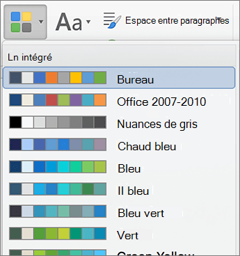 Options de couleur lorsque vous cliquez sur le bouton couleurs