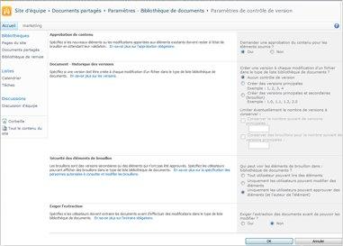Page Paramètres de contrôle de version affichant les options d'approbation