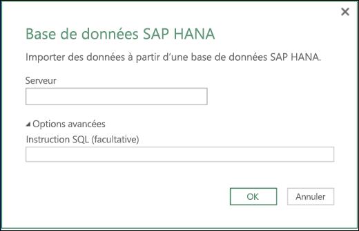 Excel Power BI - Boîte de dialogue d'importation d'une base de données SAP HANA