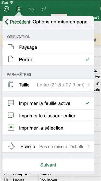 La boîte de dialogue Paramètres d'impression dans Excel pour iOS vous permet de configurer l'impression de votre feuille de calcul.