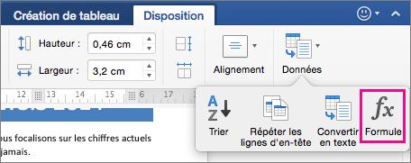 Dans l'onglet Disposition, cliquez sur Données pour afficher le menu, puis cliquez sur Formule.