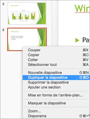 Capture d'écran d'une diapositive avec l'option Dupliquer la diapositive sélectionnée dans le menu contextuel.
