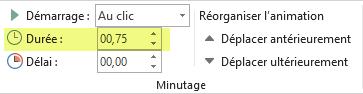Option Durée pour les effets d'animation dans PowerPoint