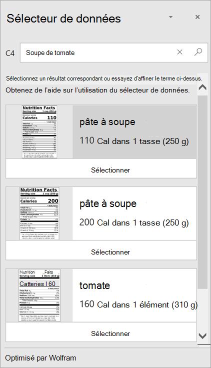 Capture d'écran du Sélecteur de données affichant plusieurs résultats pour la «Soupe à la tomate».