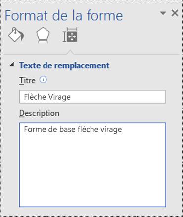 Boîte de dialogue Texte de remplacement d'une forme de base dans Visio.