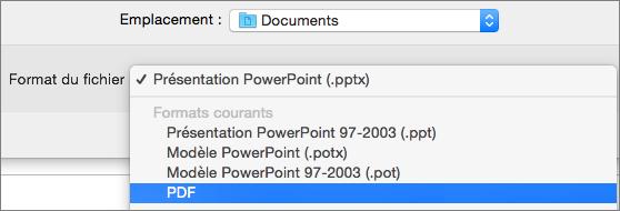 Option PDF dans la liste des Formats de fichier dans la boîte de dialogue Enregistrer sous dans PowerPoint 2016 pour Mac.