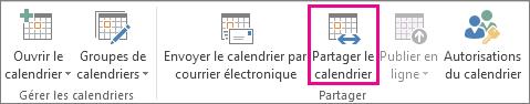 Bouton Partager le calendrier dans l'onglet Accueil d'Outlook2013