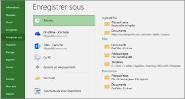Page Enregistrer sous avec Récents sélectionné