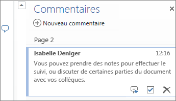 Thread de commentaires de Word Online