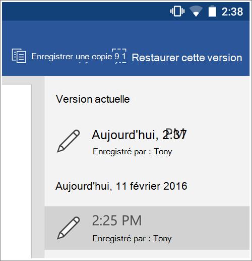 Capture d'écran de l'option historique pour restaurer les versions précédentes dans Android.
