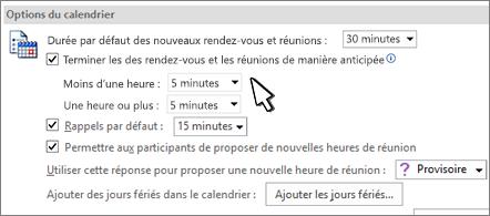 Boîte de dialogue Options de calendrier avec case à cocher Terminer les rendez-vous et les réunions plus tôt activée