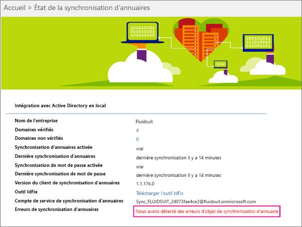 Dans la page Statut de synchronisation d'annuaires, vous pouvez voir s'il y a des erreurs d'objet DirSync