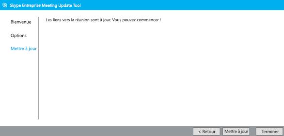 Capture d'écran de l'outil de migration de réunion à jour