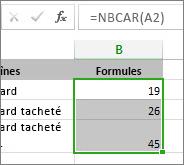 Exemple de fonction NBCAR