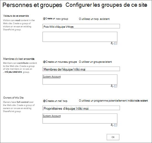 Définir des groupes de boîte de dialogue de site