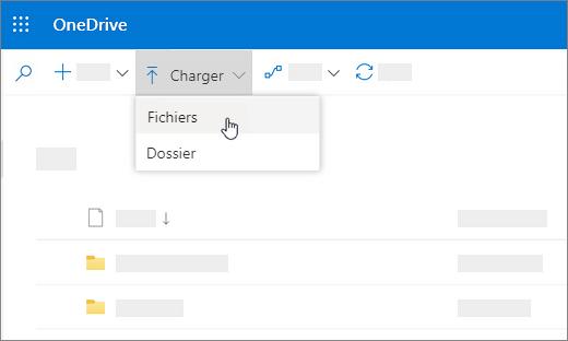 Capture d'écran affichant l'option Charger sélectionnée