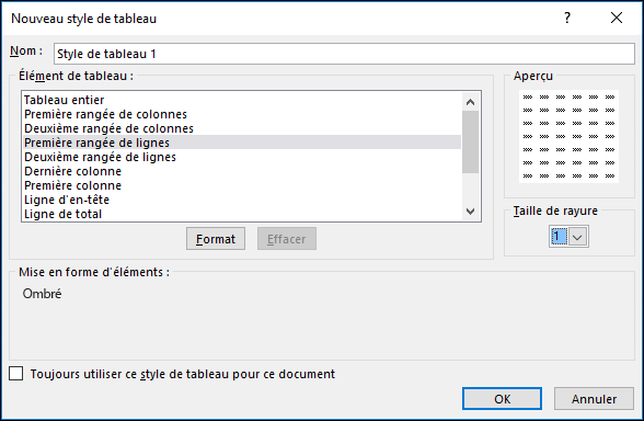 Options de la boîte de dialogue Nouveau style de tableau pour appliquer des styles personnalisés à un tableau