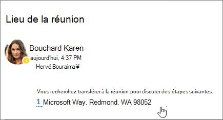 Capture d'écran d'un message électronique avec du texte sur une réunion et l'adresse de la réunion est souligné pour indiquer qu'il peut être sélectionné à afficher dans Bing Maps.