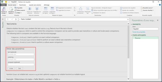 Excel Power BI - Contrôles d'entrée en ligne pour l'appel de fonction dans l'Éditeur de requête