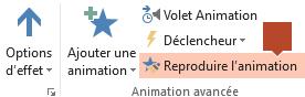La fonctionnalité Reproduire l'animation est disponible sur le ruban de barre d'outils Animation quand un élément animé est sélectionné sur une diapositive.