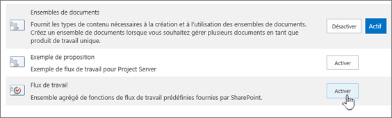 Fonctionnalité de collection de sites l'activation de flux de travail