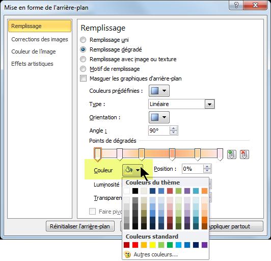 Pour un modèle de couleurs de dégradé personnalisé, sélectionnez le premier point de dégradé, puis ouvrez les options de couleur.