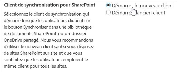 Paramètre d'administration du client de synchronisation OneDrive