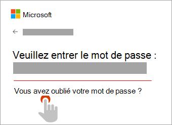 Image de la fenêtre Entrer le mot de passe mettant en évidence le lien Mot de passe oublié