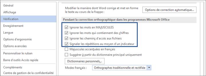 Options permettant d'ignorer des mots lors de la vérification orthographique
