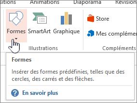 Bouton de formes insertion de PowerPoint