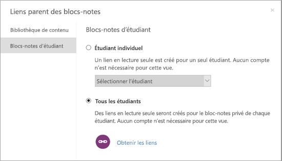 Créer des liens en lecture seule pour les blocs-notes des étudiants individuels.