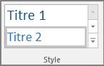 Capture d'écran de la sélection d'un style de titre dans le menu Accueil.