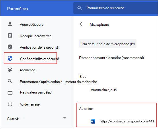 Page des paramètres d'autorisation de micro pour Chrome