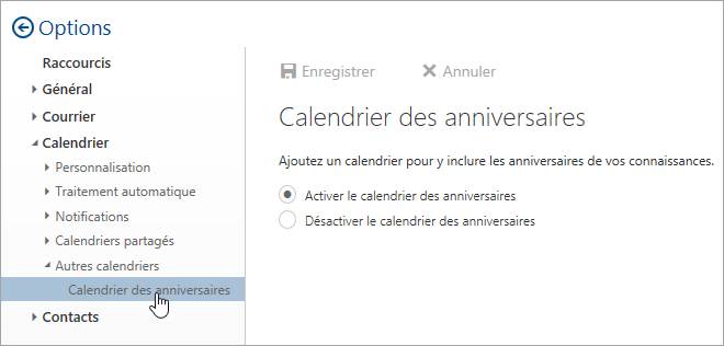 Capture d'écran du menu calendriers brithday dans les paramètres