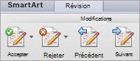 Options sous modifications sous l'onglet révision