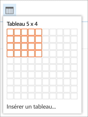 Ajouter un tableau simple dans Outlook sur le web.