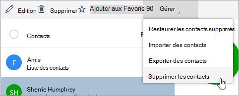 Capture d'écran de l'option nettoyer les contacts dans le menu gérer