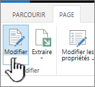 Onglet de page avec le bouton Modifier mis en surbrillance
