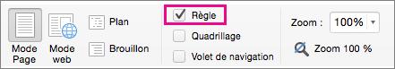 Dans le menu Affichage, sélectionnez Règle