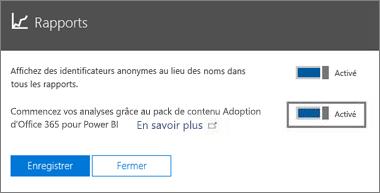 Activer le bouton bascule pour anonymiser les rapports